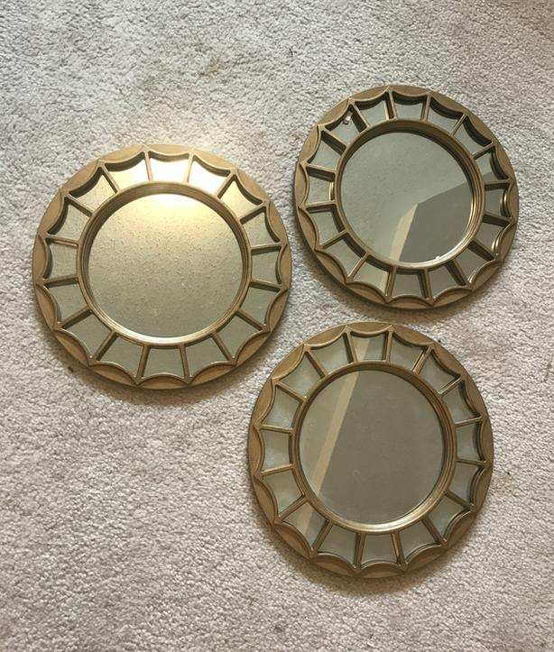 3 decorative metal framed mirrors never used