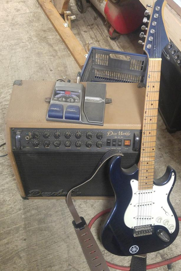 Guitar. Amp and RP80 Effects/Drum machine