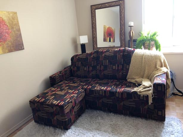 Sectional Sofa Bed w Queen Size Pullout- almost new