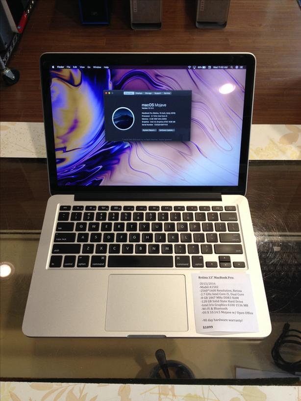 "2015/2016 Retina 13"" MacBook Pro 2.7GHz i5 8GB RAM 128GB SSD w/ Warranty!"
