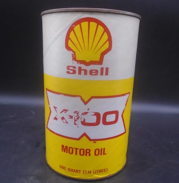 VINTAGE 1970's SHELL X-100 MOTOR OIL IMPERIAL QUART FIBRE CAN