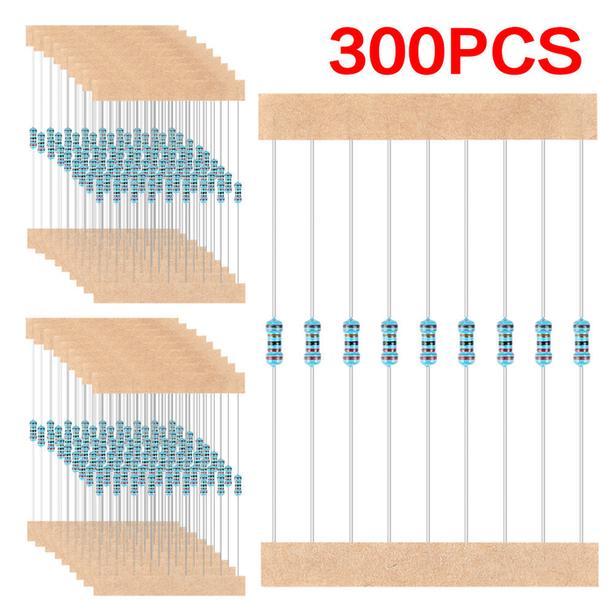 300pcs 1/4W Metal Film Resistors Pack Assorted Kit 10 ohm-1M Resistors