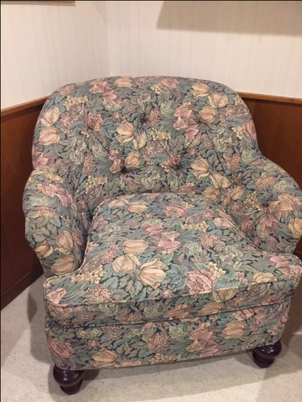 Floral Print Chair with Ottoman