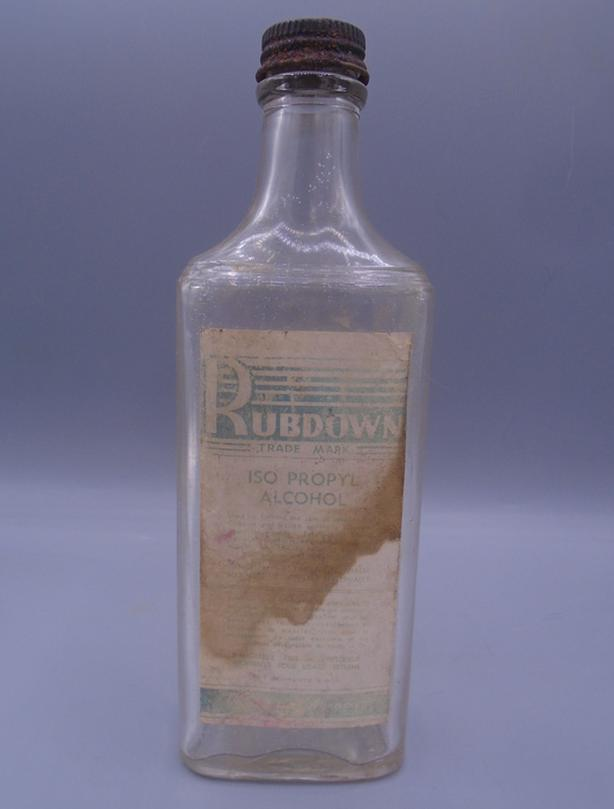 VINTAGE 1940's RUBDOWN ISO PROPYL ALCOHOL PAPER LABEL BOTTLE