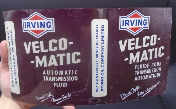 VINTAGE 1960's IRVING VELCO-MATIC TRANSMISSION FLUID FLAT CAN