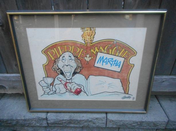 Unique 1977 Pierre Trudeau Framed Cartoon Art + book