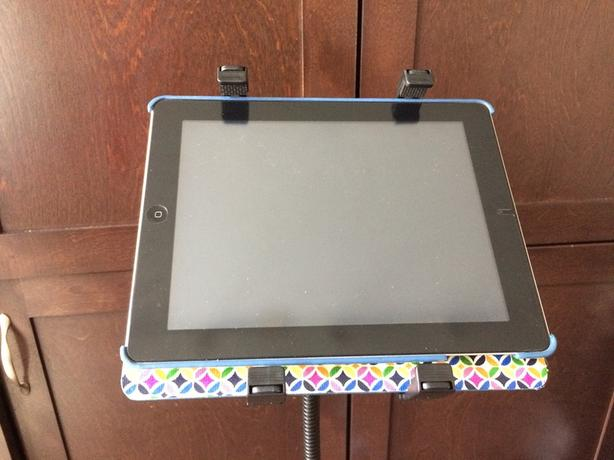 Upright adjustable iPad stand for weddings + presentations used once