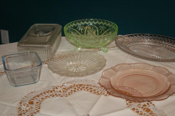 Vintage Depression Glass bowls and dishes