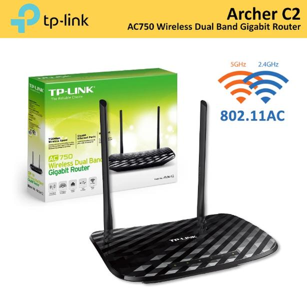New in Box TP-Link Archer C2 AC750 Wireless Dual Band Gigabit Router