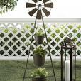 Tall 3-Tier Metal Bucket Pail Flowerpot Planter Plant Stand Windmill Combo NEW