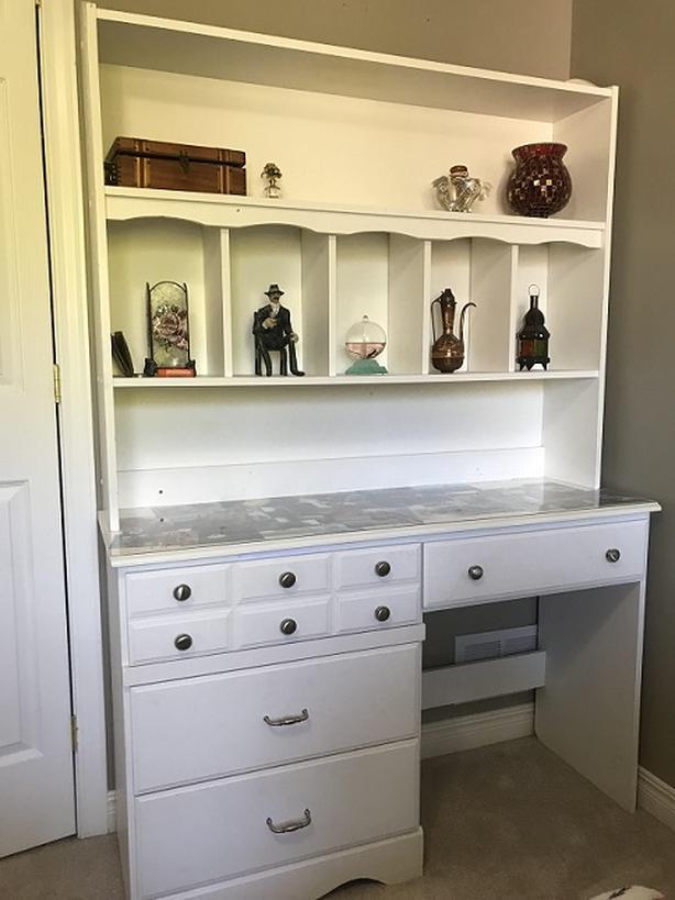 white desk with bookcase/hutch