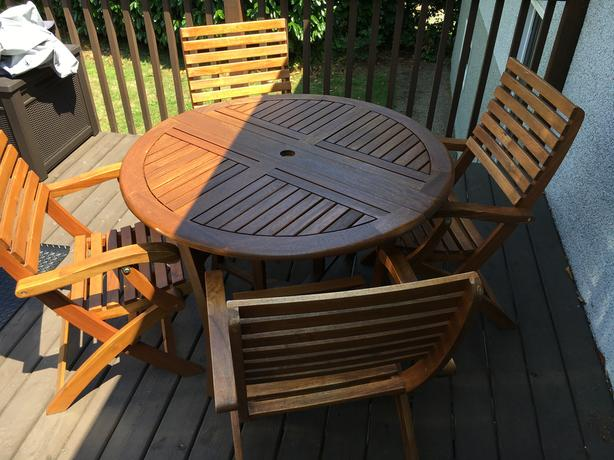 Roseland Solid Wood Foldable Patio Table and Boulton Foldable Chairs