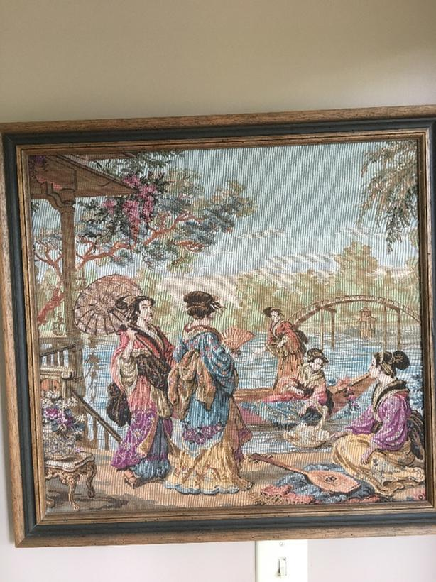 ELEGANT tapestry picture with professionally customized WOOD frame