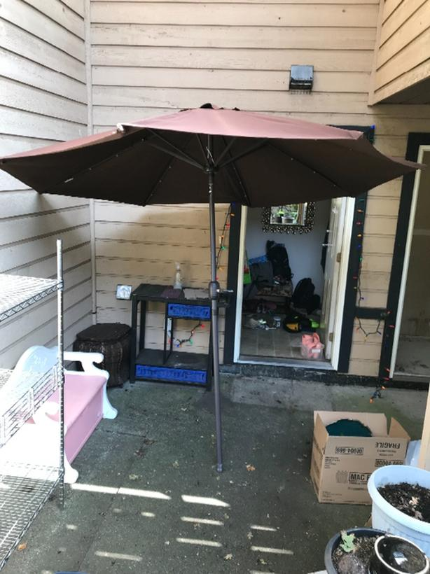 Brown outdoor umbrella