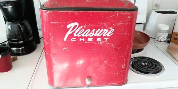 Vintage Pleasure Chest Cooler-Red Metal with bottle opener