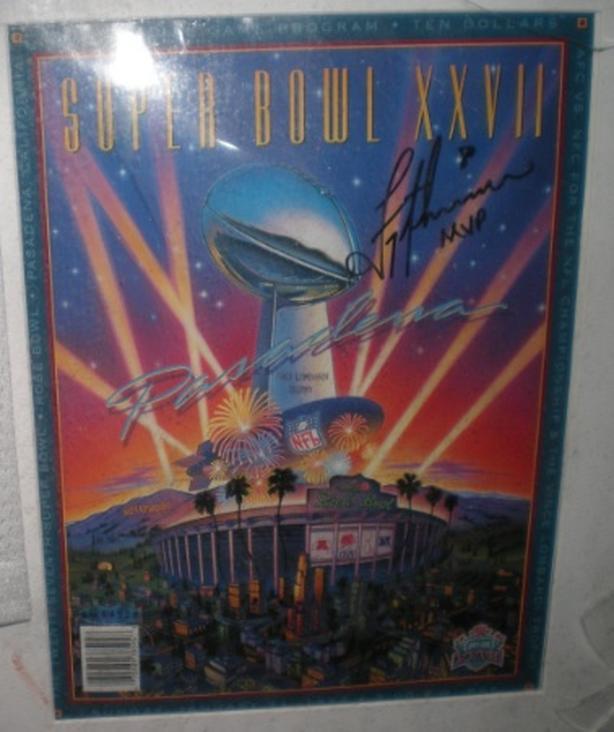 """Super Bowl XXVII NFL Official Program Autographed Troy Aikman """"MVP"""" Inscription"""