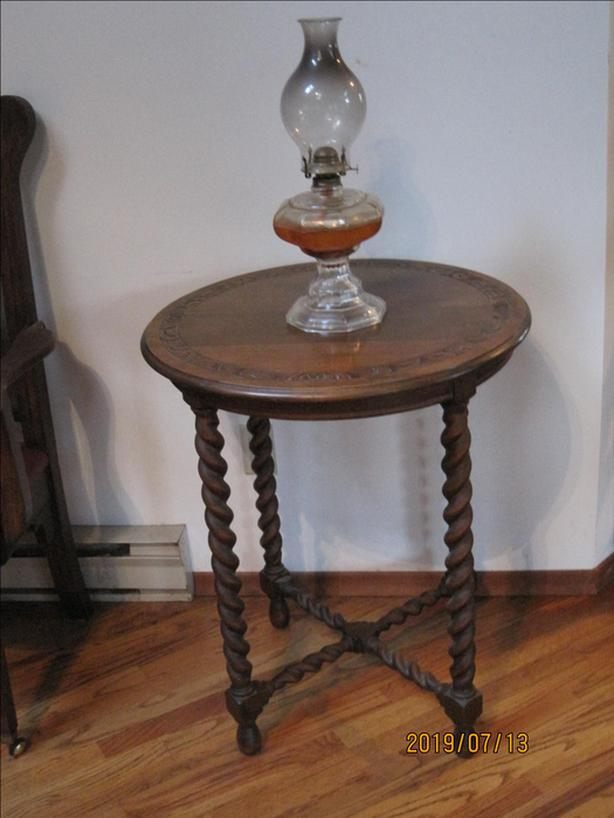 Round English Barley Twist Side Table