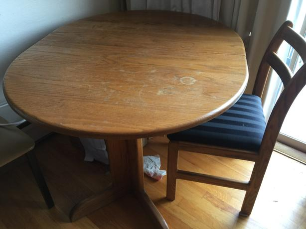 Solid Oak Table & 2 Chairs $125 obo