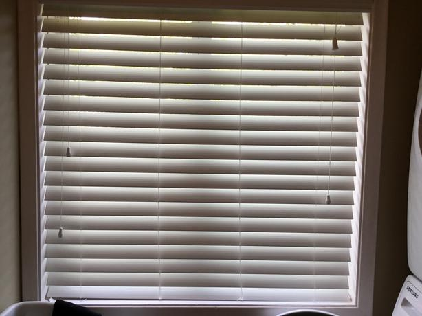 45.5 x 48 inch white faux wood blinds
