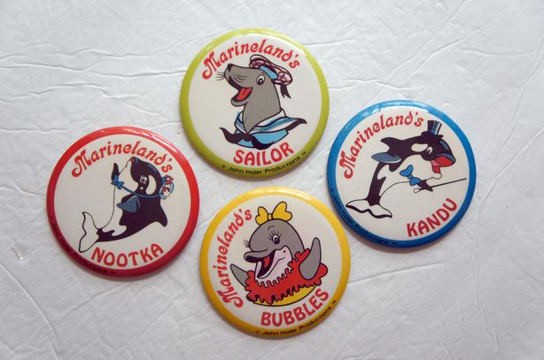 Vintage 80's Marineland's badge bouton- Orca - Seal