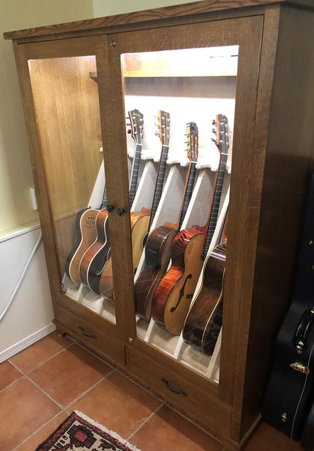 Oak Guitar Storage Cabinet