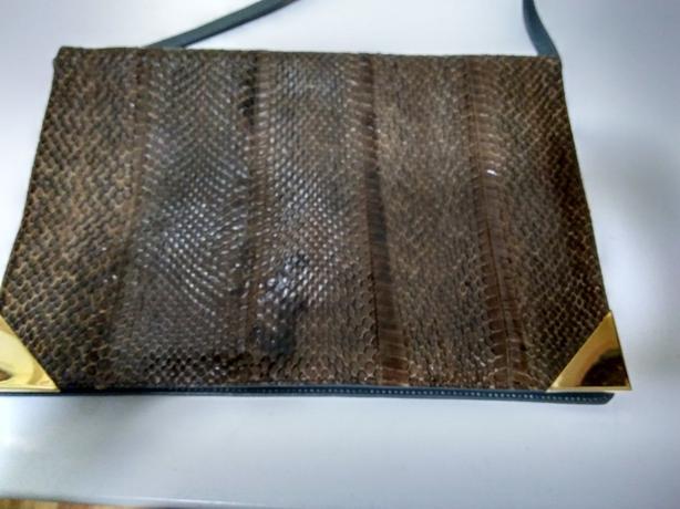 Grey Leather Retro Snakeskin Envelope Handbag