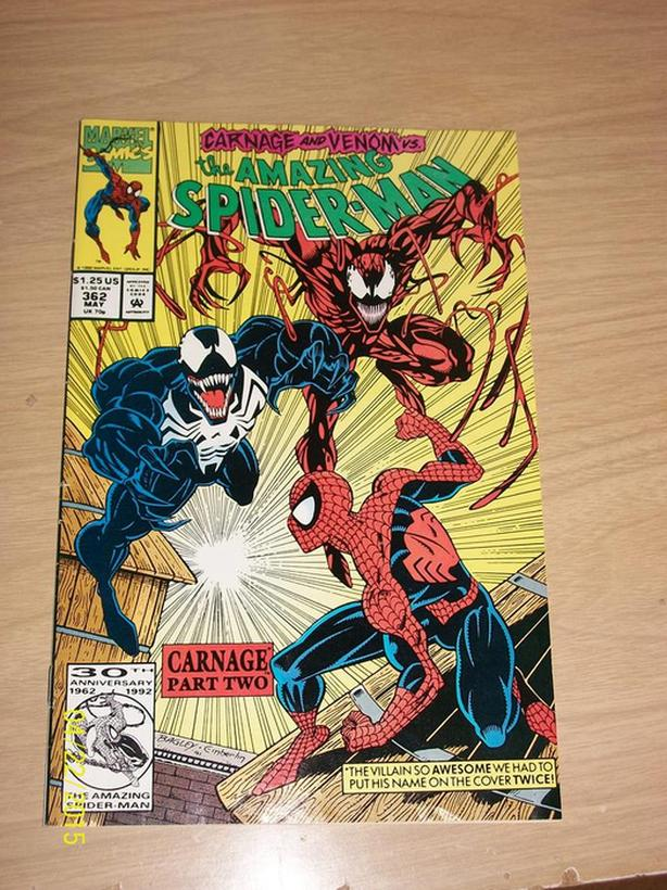 spiderman # 362 carnage and venom vs.