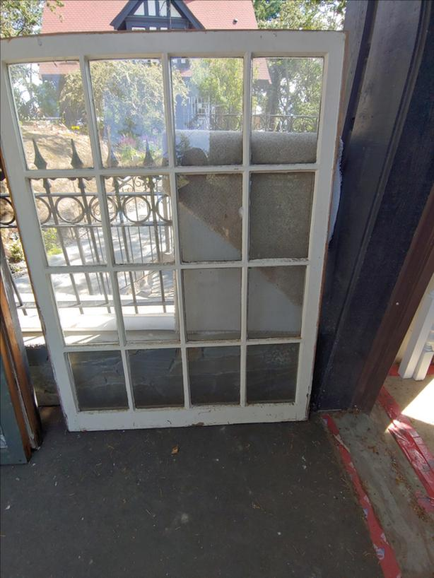 ANTIQUE WHITE WOOD PANED WINDOW