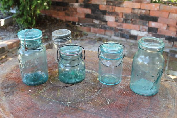 Antique Canning Jars, Blue with Bail