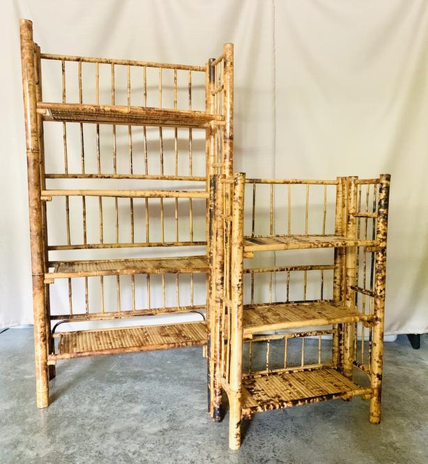 Set of 2 Antique 'Tortoise' Bamboo folding Shelves