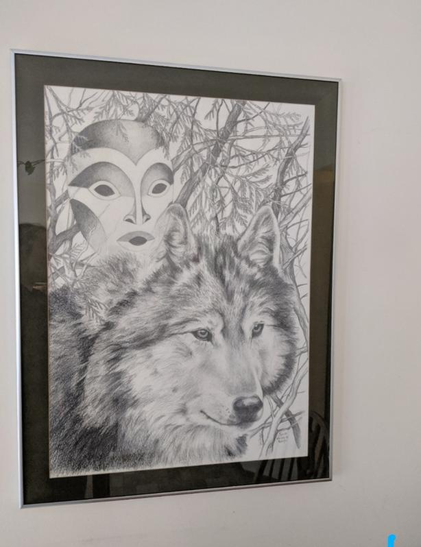 'Spirit Whispers to Wolf' Original Artwork framed w glass
