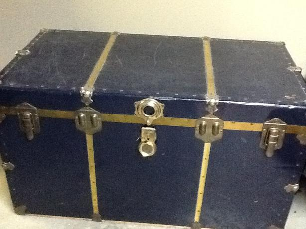 Antique Steamer Trunk - Col-bolt Blue with brass accents
