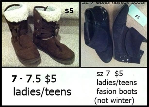 Various Boots Ladies/Teens Size 7  $5 each