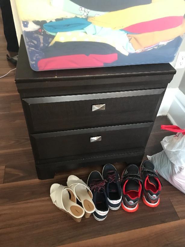 queen bed frame, dresser and bedside table