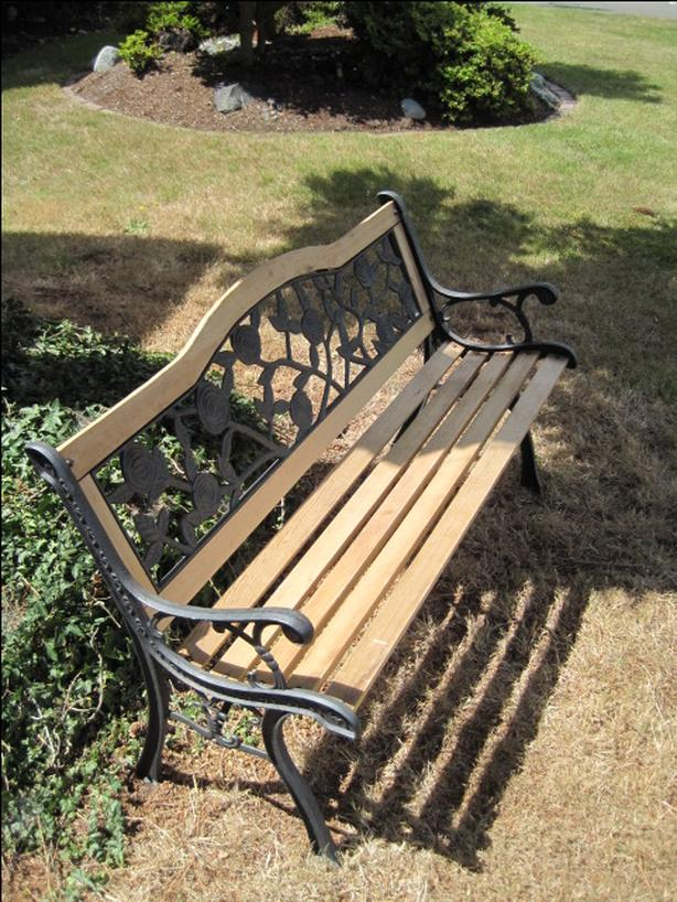 Amazing Floral Metal Garden Bench Saanich Victoria Gmtry Best Dining Table And Chair Ideas Images Gmtryco