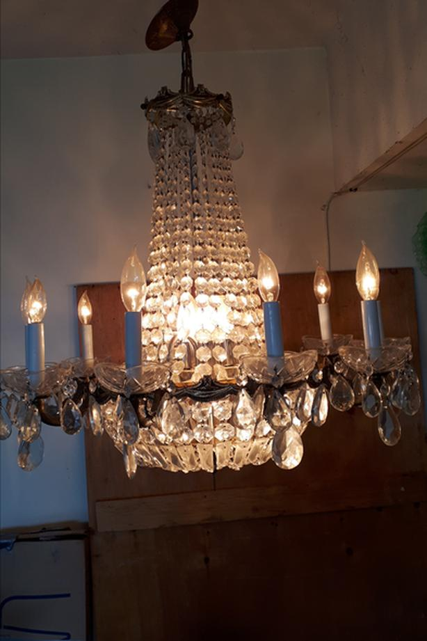 Bronze and Crystal Chandelier with 10 Arms and Two Interior light banks