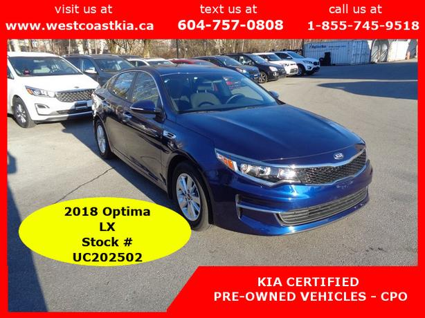 2018 Kia Optima LX 4 Cylinder, Roomy, LOWEST KILOMETERS OUT THERE!