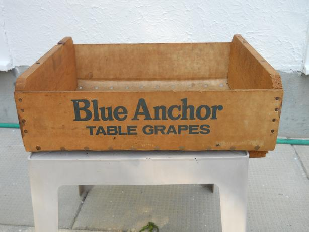 Vintage Blue Anchor Table Grapes Wooden Crate Box