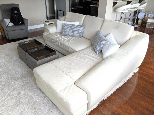 Stupendous Cream Leather Condo Sectional Sofa West Shore Langford Spiritservingveterans Wood Chair Design Ideas Spiritservingveteransorg