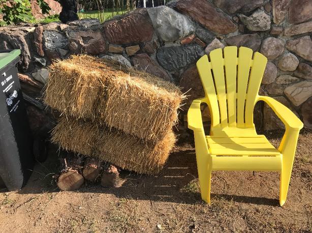 FREE: chair, hay bales, hockey net