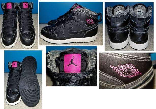 Girls Black Pink Fur Lined Air Jordan 1 Retro High