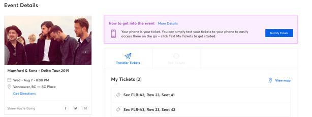 Mumford & Sons August 7th BC Place 2 floor seats - $275