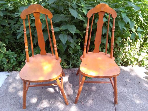 Pair of Vintage Wooden Dining Chairs for Back to School