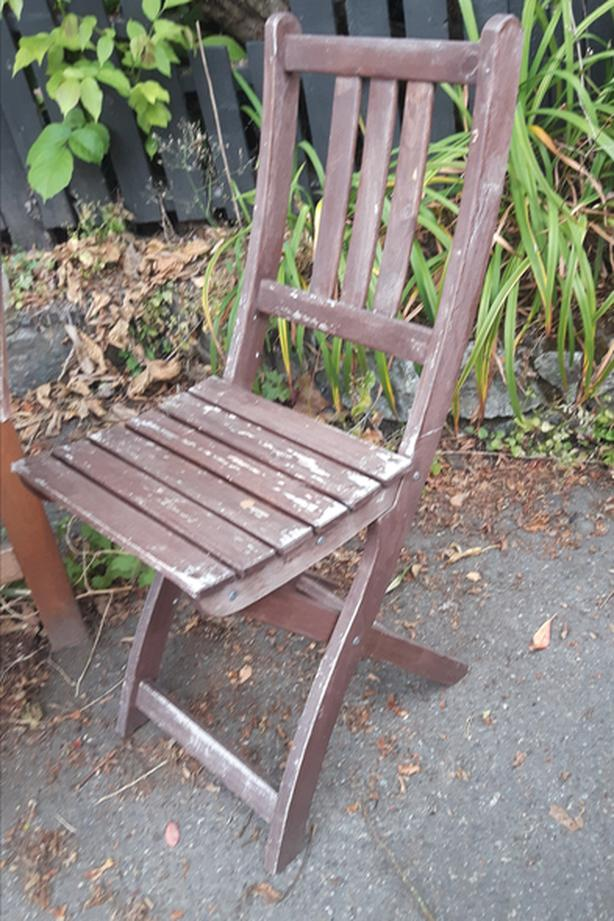 Teak Wood Folding Patio Chairs x 2