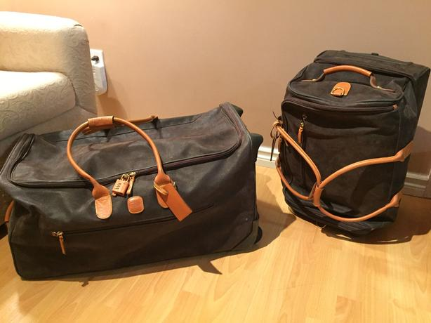 Set of 2 Bric's suitcases Pebbled olive and tan leather