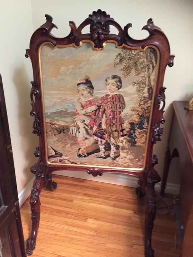 Antique fire screen - needlepoint tapestry & mahogany frame