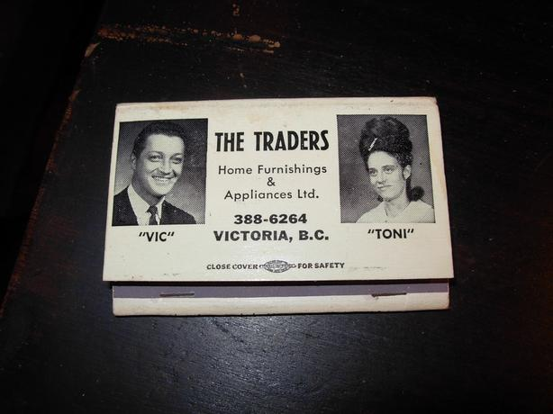 THE Traders Vic and Toni Front Striker Matches..Mint unused 1960s Victoria Bc