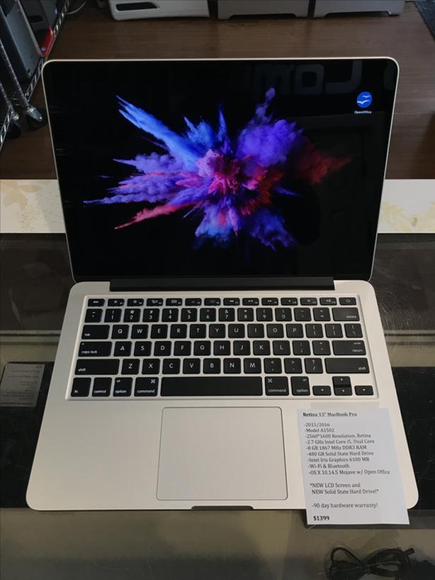 """Retina 13"""" MacBook Pro 2.7GHz Intel Core i5 8GB RAM 480GB SSD w/ Warranty!"""