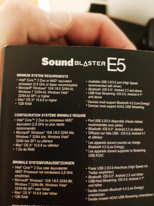$220 · Soundblaster E5 Portable Bluetooth Headphone Amp/USB DAC