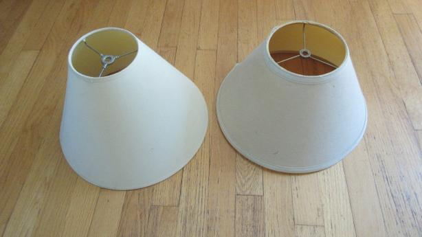 Two (2) Beige lamp shades